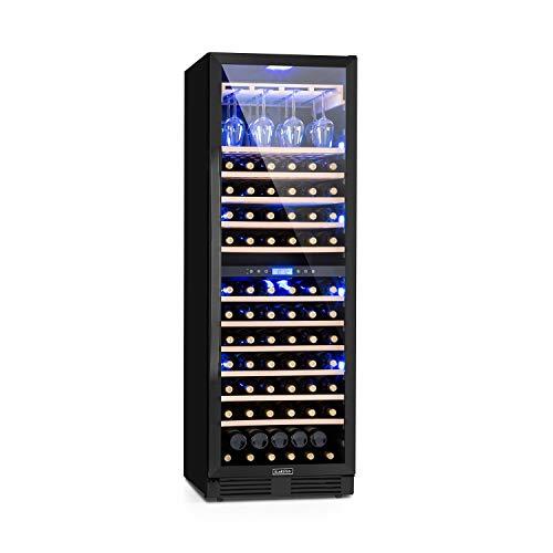 Klarstein Vinovilla Onyx - Weinkühlschrank, Glastür, einzigartige, 3-farbige Innenbeleuchtung, Buchenholzeinschübe, 2 Kühlzonen,Anti-Vibration, Touch-Bedienung, 425 Liter, 165 Weinflaschen, schwarz