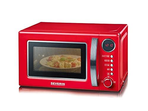 SEVERIN 2-in-1 Retro Mikrowelle mit Grillfunktion, Grillofen mit 5 Leistungsstufen und 8 Automatikprogrammen, hochwertige Mikrowelle mit Grill, ca. 700 W, rot / chrom, MW 7893