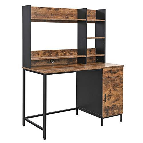 VASAGLE Schreibtisch, Computertisch mit Regalaufsatz, Bürotisch mit Schrank und Schublade, Arbeitszimmer, einfache Montage, Metall, Industrie-Design, vintagebraun-schwarz LWD65X