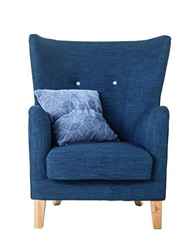 SalesFever Relaxsessel Houston, in Blau, Armlehne, mit Stoffbezug aus Polyester, Zierknöpfe an Rückenlehne, Pflegeleichte Oberfläche, hoher Sitzkomfort