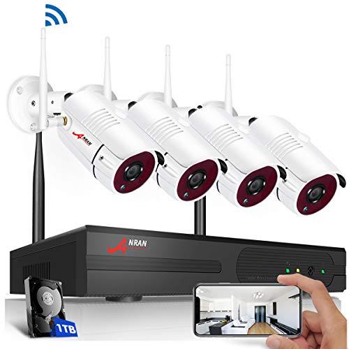 4CH 1080P HD Überwachungskamera Aussen WLAN Set, ANRAN Drahtlos NVR System Funk Überwachungsset mit 1TB Festplatte Plus 4Stk. 2.0MP Kabellose Netzwerk Außen IP Überwachungskamera