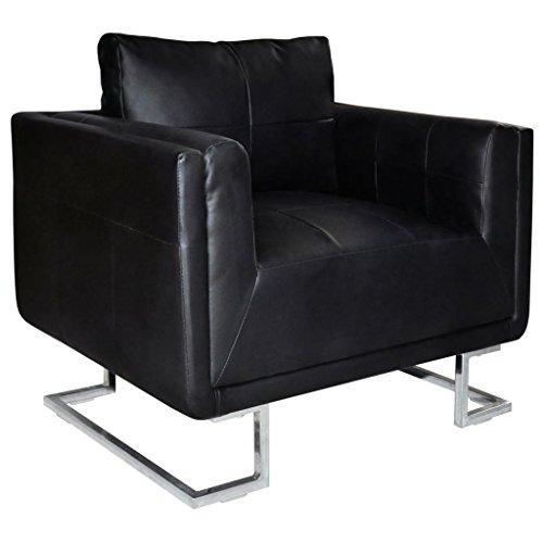 vidaXL Luxury Ledersofa Sessel Schwarz mit Chromfüße