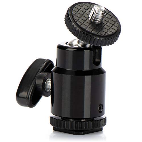 com-four® Mini Stativkopf mit Kugelkopf/Tripod Mini Ball Head mit 1/4' Gewinde für DSLR Kamera Stativ 360° drehbar (1 Stück - Blitzschuh-Montage)