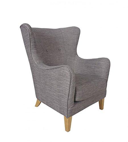 SalesFever Relaxsessel Houston, in Grau, Armlehne, mit Stoffbezug aus Polyester, Zierknöpfe an Rückenlehne, Pflegeleichte Oberfläche, hoher Sitzkomfort