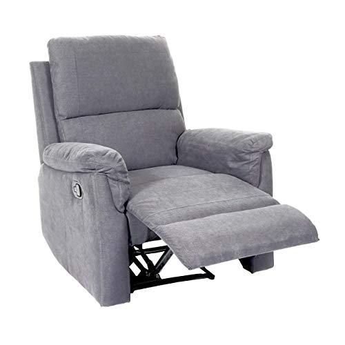 Mendler Fernsehsessel HWC-E67, Relaxsessel Liege Sessel - Stoff/Textil hellgrau