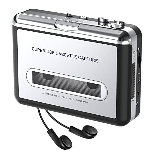 Kassettenspieler-Kassette zu MP3 / CD-Recorder über USB, Tragbarer Kassettenkonverter Wandelt Walkman-Kassette in Digitales Format um, Kompatibel mit Mac und PC