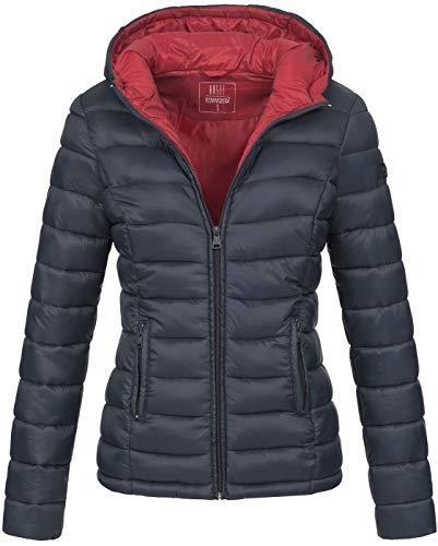Marikoo Damen Jacke Steppjacke Herbst Winter Übergangsjacke gesteppt B651 [B651-Luc-Navy-Gr.XXL]