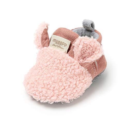 LACOFIA Neugeborenes Baby Jungen Mädchen Warme Winterschuhe Kleinkind rutschfest Weiche Sohle Krabbelschuhe Rosa 3-6 Monate