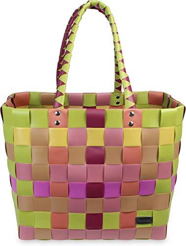 normani Einkaufstasche geflochten mit Henkeln - Tragetasche extra robust Farbe Classic/Peach