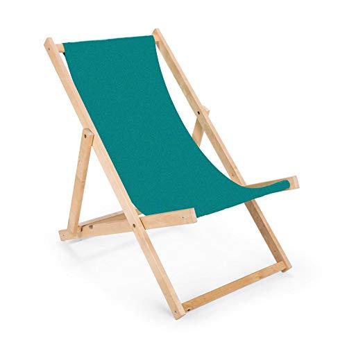 BAS 2 x Liegestuhl aus Holz Klappbar Holzklappstuhl Relaxliege Gartenliege Strandstuhl (Türkis)