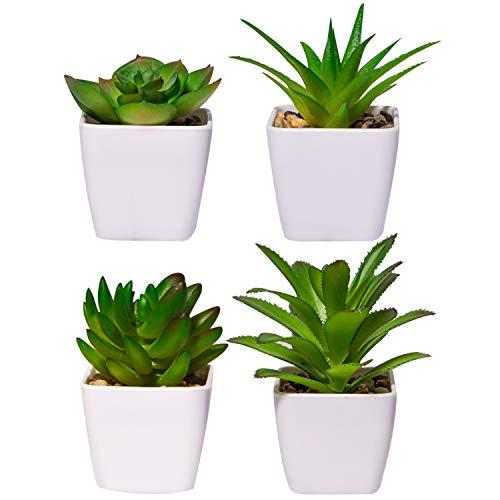 YHmall 4 Stück Kunstpflanzen außenbereich Künstliche Pflanzen Kunstpflanzen Badezimmer Kunstpflanzen im Topf Künstliche Sukkulenten Tischdeko Haus Balkon Büro Deko MEHRWEG