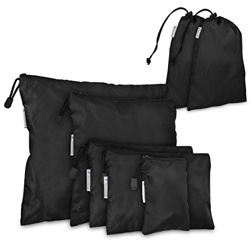 Navaris Koffer Packbeutel Set 7-teilig - 7X Schuhbeutel Wäschebeutel Reise Packtaschen - Rucksack Organizer Beutel - Stausack Reisebeutel Schwarz