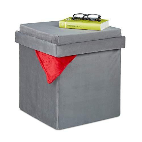 Relaxdays Samthocker mit Stauraum, Tablett im Deckel, Polsterhocker faltbar, Samt Sitzhocker, HBT 42 x 38 x 38 cm, grau
