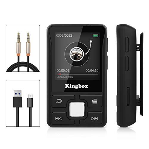 MP3 Player, Kingbox 32GB Bluetooth 4.1 Mini Sport Runden MP3 Player, tragbar HiFi Verlustfreier Sound Musikspieler, Unterstützung FM Radio, Bilder, Aufnahmen, E-Buch (schwarz)