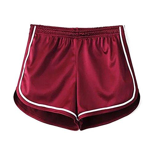 Damen Sport Shorts Glänzende Metallische Hosen Yoga Hot Shorts Aktive Lounge Shorts Tanz Shorts mit Farbigen Kanten