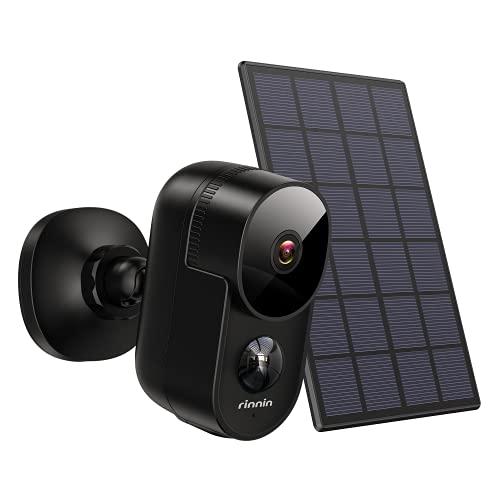 Überwachungskamera Aussen Akku WLAN IP Kamera mit Solarpanel, Rinnin 1080P Kabellose Outdoor Batteriebetrieben Wasserdicht Überwachungskamera mit Nachtsicht, PIR-Bewegungserkennung, 2-Wege-Audio