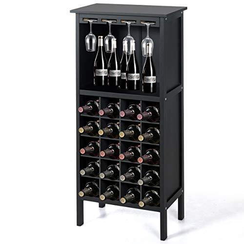 DREAMADE Weinregal mit Weinglashalter, Weinschrank Holz, Flaschenregal für 20 Flaschen, Weinständer Weinhalter Gläserregal mit Vintage Still, Weinflaschenhalter (Schwarz)