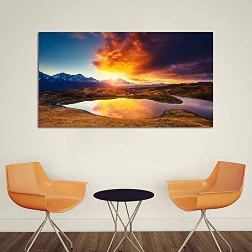 Kunst Drucken Romantische Sonnenuntergang Landschaft Gemälde Familie Wohnzimmer Korridor Wand Dekoration Malerei Leinwand Inkjet Bild,Noframe,50x80cm