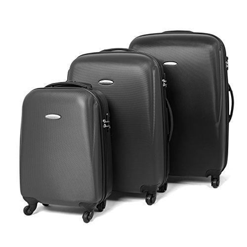 MasterGear Hartschalenkoffer Set aus ABS mit Reißverschluss in schwarz , 3er Kofferset , Koffer 4 Rollen (360 Grad) , Trolley, Reisekoffer, Hartschalenkoffer, TSA, stapelbar , Größen: S, M & L