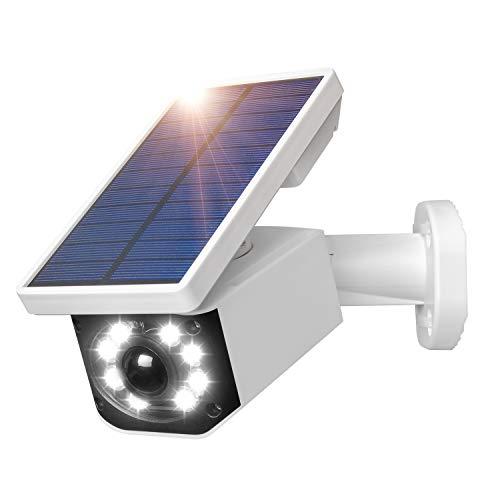 2in1 Attrappe Kamera und LED Solarleuchte,Attrappe Überwachungskamera und IP66 Wasserdicht Solarlampen für Außen mit Bewegungsmelder,Solar Sicherheitleuchte für Garten Garage Balkon Pathway