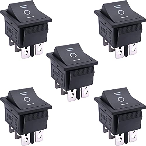 Taiss / 5Pcs AC 250V / 16A, 125V / 20A schwarz EIN/AUS/EIN DPDT 6 Pin 3 Position Mini Boat Rocker Switches Auto Auto Boat Rocker Kippschalter Snap KCD2-203-BK