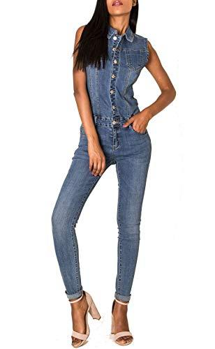 EGOMAXX Damen Jeans Overall Jumpsuit Ärmellos Hosenanzug Einteiler, Farben:Blau, Größe:38