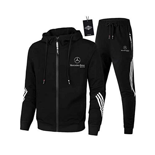 AGLOAT Herren und Damen Trainingsanzug Jogginganzug Sportanzug Jogginghose Zweiteilige Trainingsjacke Pants Stripe mit Kapuze Sporthose Sportbekleidung Mantel (Schwarz, x_l)