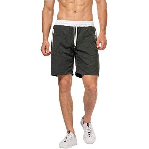CHYU Herren Sport Joggen und Training Shorts Fitness Kurze Hose Jogging Hose Bermuda Reißverschlusstasch (L, Dark Grey)