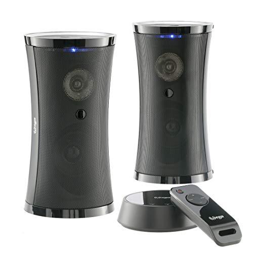 VSG24 SP-4780 Design Funk Lautsprecher Set mit Fernbedienung – Tragbarer Audio Speaker, Reichweite bis 100 Meter,Kabellos, Plug&Play, IPX3 - Schwarz