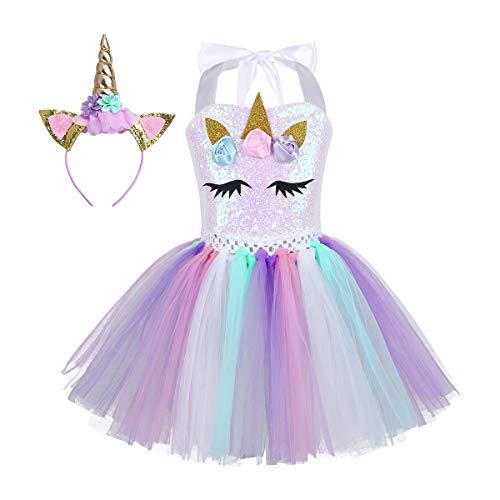 iEFiEL Einhorn Kostüm für Kinder - komplettes Prinzessin Kostüm Set für Mädchen Kleid mit Blumen Haarreif Zu Karneval Cosplay Fasching (104-110, Bunt mit Pailletten)