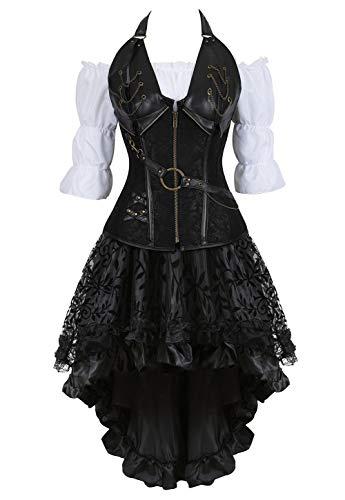 Grebrafan Steampunk Neckholder Corsage Kostüm mit asymmetrischer Spitzenrock und Bluse - für Karneval Fasching Halloween (EUR(34-36) M, Schwarz)
