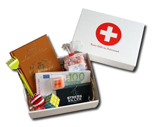 Erste Hilfe im Ruhestand Geschenkbox   Witzige Geschenke Rente Mann   Abschiedsgeschenk Pensionierung Männer