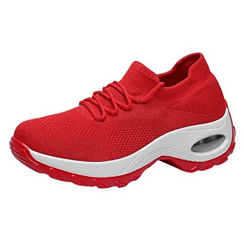 NMERWT Frauen Sneaker Mesh Schuhe Schnürer Leichte Stoßfest Laufschuhe Air Atmungsaktiv Turnschuhe Damen Dicker Boden Plateauschuhe Pufferkissen Schuhe Schaukelschuhe