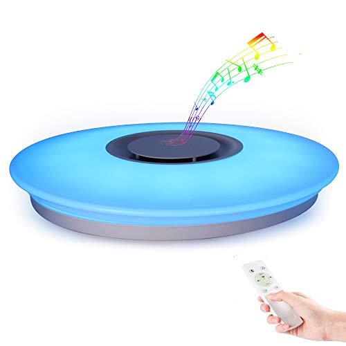 Horevo Moderne LED Bluetooth Deckenleuchte mit Bluetooth Lautsprecher Umgebungslicht 24W Deckenlampe mit Fernbedienung APP-Steuerung Dimmbar Warmweiß/Kaltweiße 3000K-6500K RGB Musik Deckenlampe