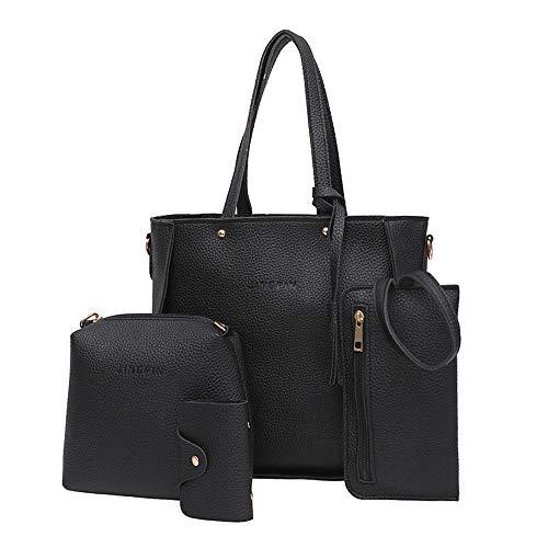 Dorical Damen Handtasche 4 Pcs Set Damen Elegant Schultertasche Umhängetasche Crossbody Schultertaschen Abdeckung Kuriertaschen Taschen Leichte Stylische Tote Bag für Frauen(Schwarz)