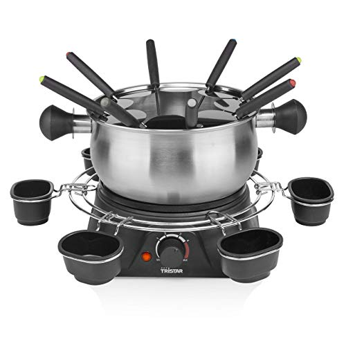 Tristar Fondue-Set für bis zu 8 Personen, 1,3 Liter Fassungsvermögen, inklusive Edelstahlgabeln und Saucenring, 1400 Watt, FO-1109, Silber, Schwarz