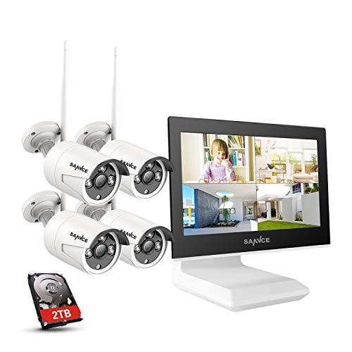SANNCE 4CH 3MP WLAN Überwachungskamera Set mit Monitor,Audioaufnehmen,4 X 3MP Wasserdicht Überwachungskameras, 2TB, Fernzugriff, 100 Ft Nachtsicht unterstützt Amazon Alexa