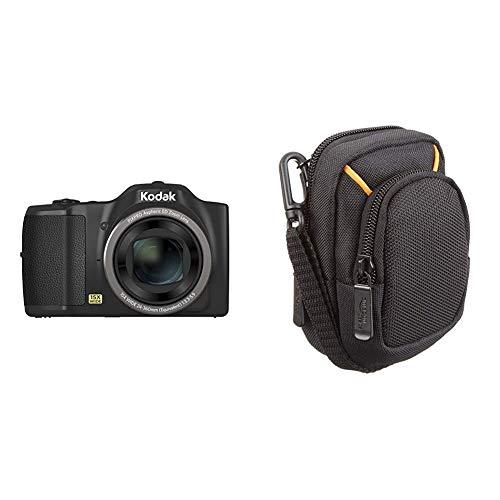 Kodak FZ152 Pixpro Friendly Zoom Digitalkamera 16 MP schwarz & Amazon Basics Kameratasche für Kompaktkameras, mittlere Größe