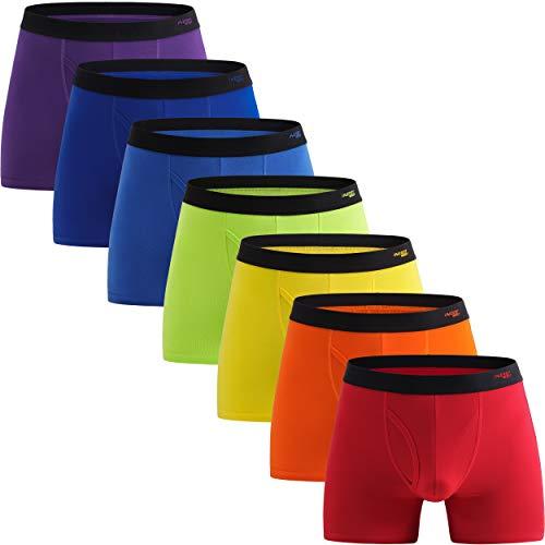 INNERSY Unterhosen Männer Baumwolle Boxershorts mit Eingriff Herren Bunt Unterwäsche 7er Pack (XL, Rainbow Color)