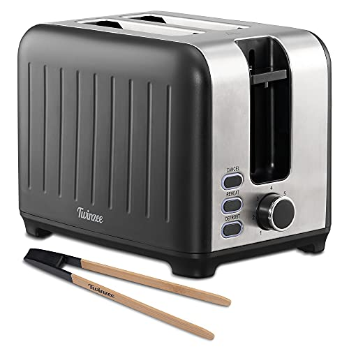 Twinzee - Toaster mit Breitem Schlitz 3 in 1 - Schwarz Matt Edelstahl, Retro-Toaster - Bambus-Zange - 7 Bräunungsstufen - Brötchenaufsatz und Krümelschublade