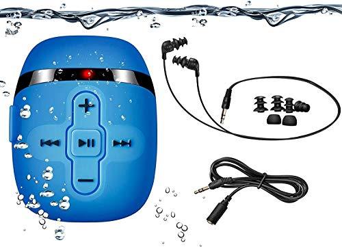 SEWOBYE 8GB Wasserdichter MP3 Player zum Schwimmen und Laufen mit 16 Stunden Spielzeit, MP3 Player Wasserdicht mit Unterwasser Kopfhörer (3 Arten Ohrhörer), mit Shuffle Funktion (Blue)