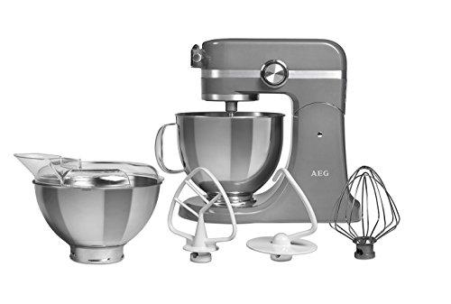 AEG Küchenmaschine UltraMix KM 4400/10 Geschwindigkeitsstufen / 1000 Watt/LED-Licht/Voll-Metall Gehäuse / 4,8 + 2,9 Liter Edelstahl-Rührschüsseln/inkl. umfangreiches Zubehör/Tungsten Grau Metallic
