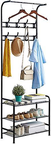 Garderobenständer, Kleiderständer Garderobe Metall mit Schuhregal 3 Ablagen, freistehende Garderobe Kleiderständer mit 8 abnehmbaren Haken für Kleidung, Hüte,Schale,Handtaschen, Regenschirm, 2 Ablagen
