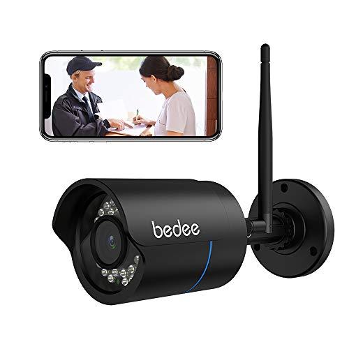 1080P HD Überwachungskamera, bedee Wlan IP Kamera Wasserdichte WiFi Sicherheitskamera Unterstützung IR Nachtsicht, Bewegungserkennung, Fernalarm, 128G SD Karte, 9.8ft Netzteil für Innen Außen Monitor