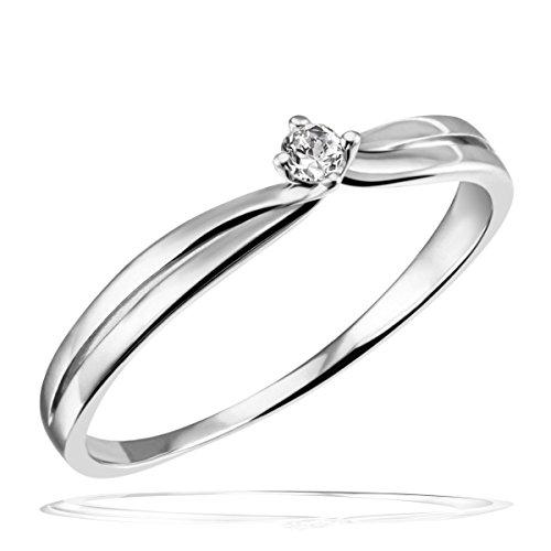 Goldmaid Damen-Ring Verlobungsring Solitär 375 Weißgold 1 Brillant 0,05 ct. Gr. 58