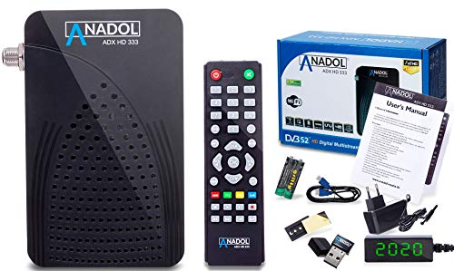 [ Test 2X GUT *] Anadol HD 333 1080p Full HD-TV Mini Digital-Receiver - Multistream - Full-HD Mini-Receiver für Satellit - HDMI USB - Astra HOTBIRD vorinstalliert - inkl. HDMI Kabel & WiFi Stick