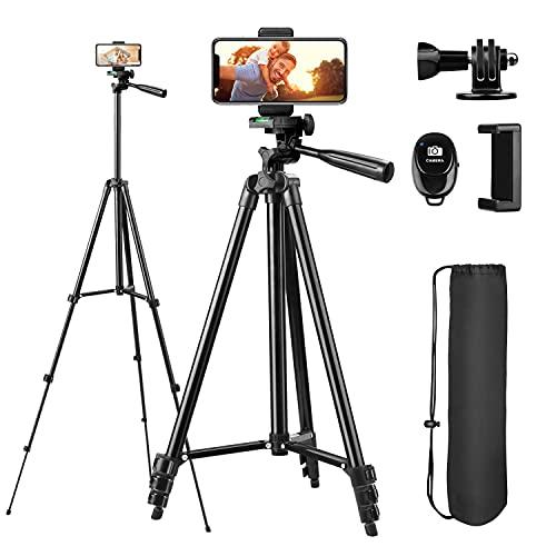 Handy Stativ, Sunfoto 51 Zoll 130cm Aluminium Kamera Stativ Reisestativ für iPhone/Handy, Kamera und Sportkamera mit Bluetooth Fernbedienung, Handy Halterung und Gopro Halterung