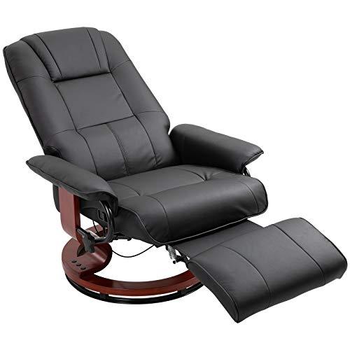 HOMCOM Relaxsessel Fernsehsessel Liegesessel aus Kunstleder 360° Drehstuhl Holzfuß Schwarz 145° neigbar