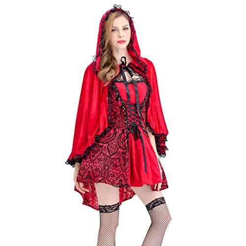 LOPILY Erwachsenkostüm Halloween Kostüm Damen Hexe Teufel Kleid mit Kapuze Poncho Spitzenkleid Sexy Kostüm Kanerval Prinzessin Vampire Faschingskostüme Damen (KEIN Strumphosen KEIN Schuhe) (34)