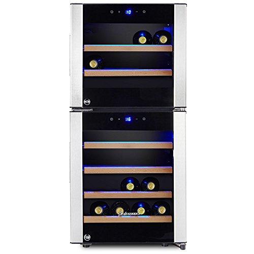 Kalamera KRC-33DZF Design Weinkühlschrank für bis zu 33 Flaschen (bis zu 310 mm Höhe),zwei Temperaturzonen,5-10°C/ 10-18°C, (100 Liter, LED Bedienoberfläche, 2 Kühlzonen, Edelstahl)